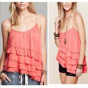 Free People Flutter Ruffle Asymmetrical tank top